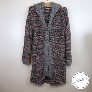 Intimately Free People Cardigan Sweater Pink Gray